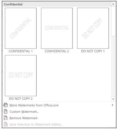 watermark samples In Word