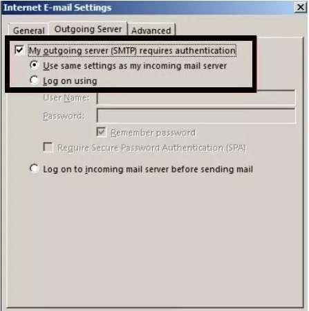 Internet E-Mail Setting