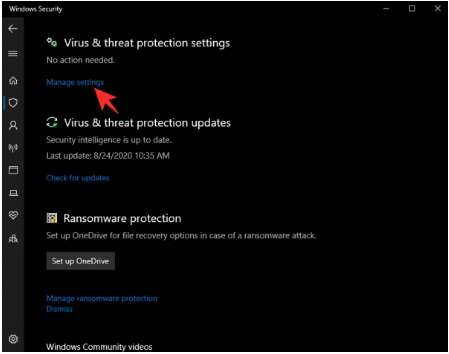 Managesettings option in Virus and threat protection