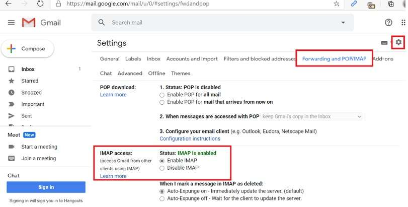 Enable IMAP Access in Gmail Settings