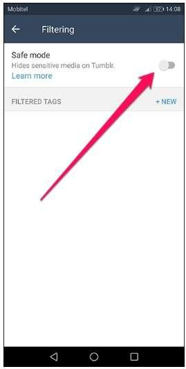 safe mode in tumblr app