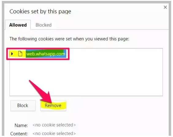 remove cookies in WhatsApp web