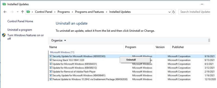 uninstall security update or Microsoft Windows